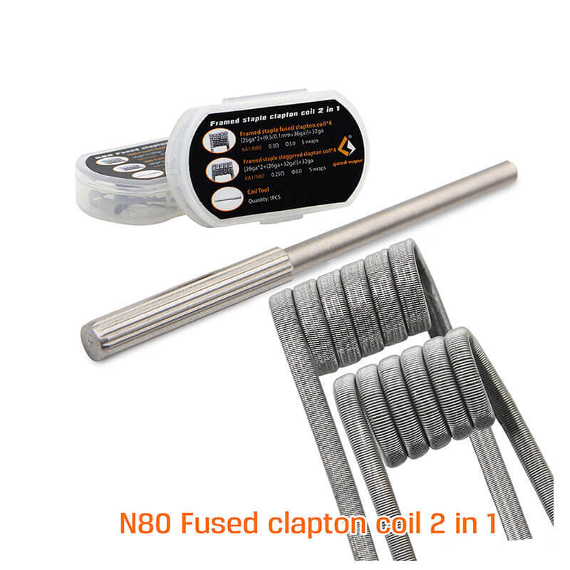 8pcs N80 Fused Clapton Coil 2 In 1